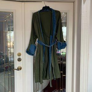 Zara Denim Military Green Trench Coat